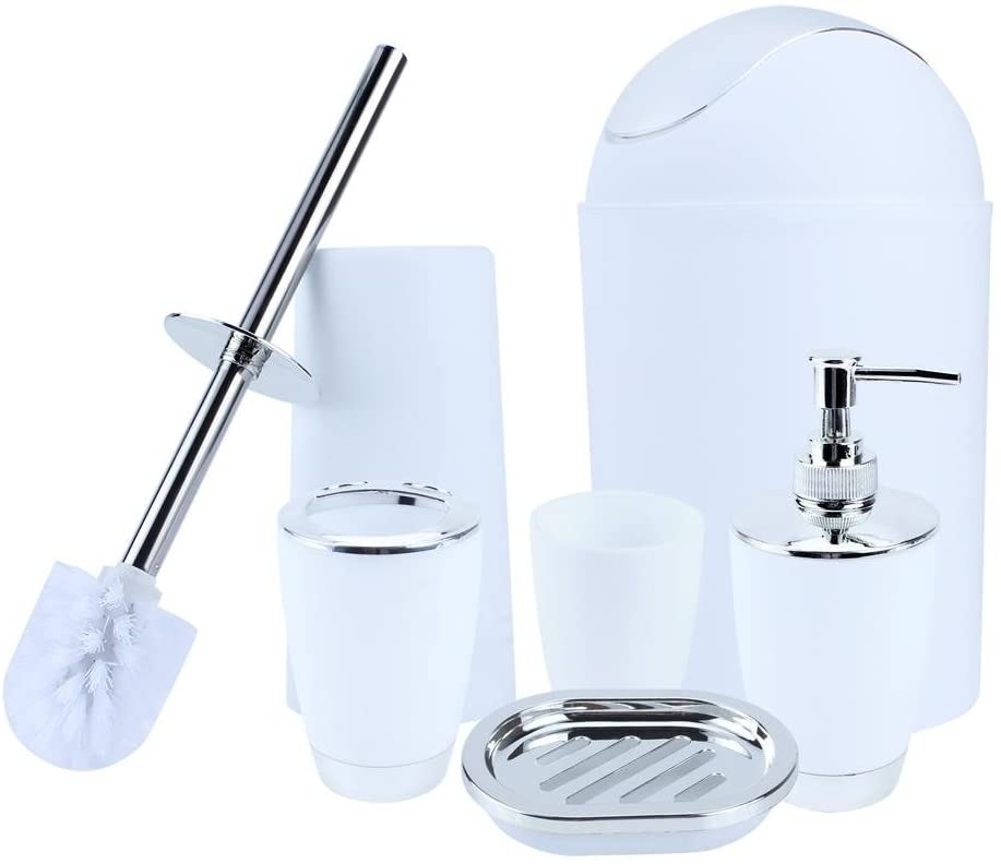 GOTOTOP 6Pcs Bathroom Accessory Set Include Cup, Toothbrush Holder, Tumbler Soap Dish Dispenser, Soup Holder, Hand Sanitizer Bottle, Bins, Toilet Brush