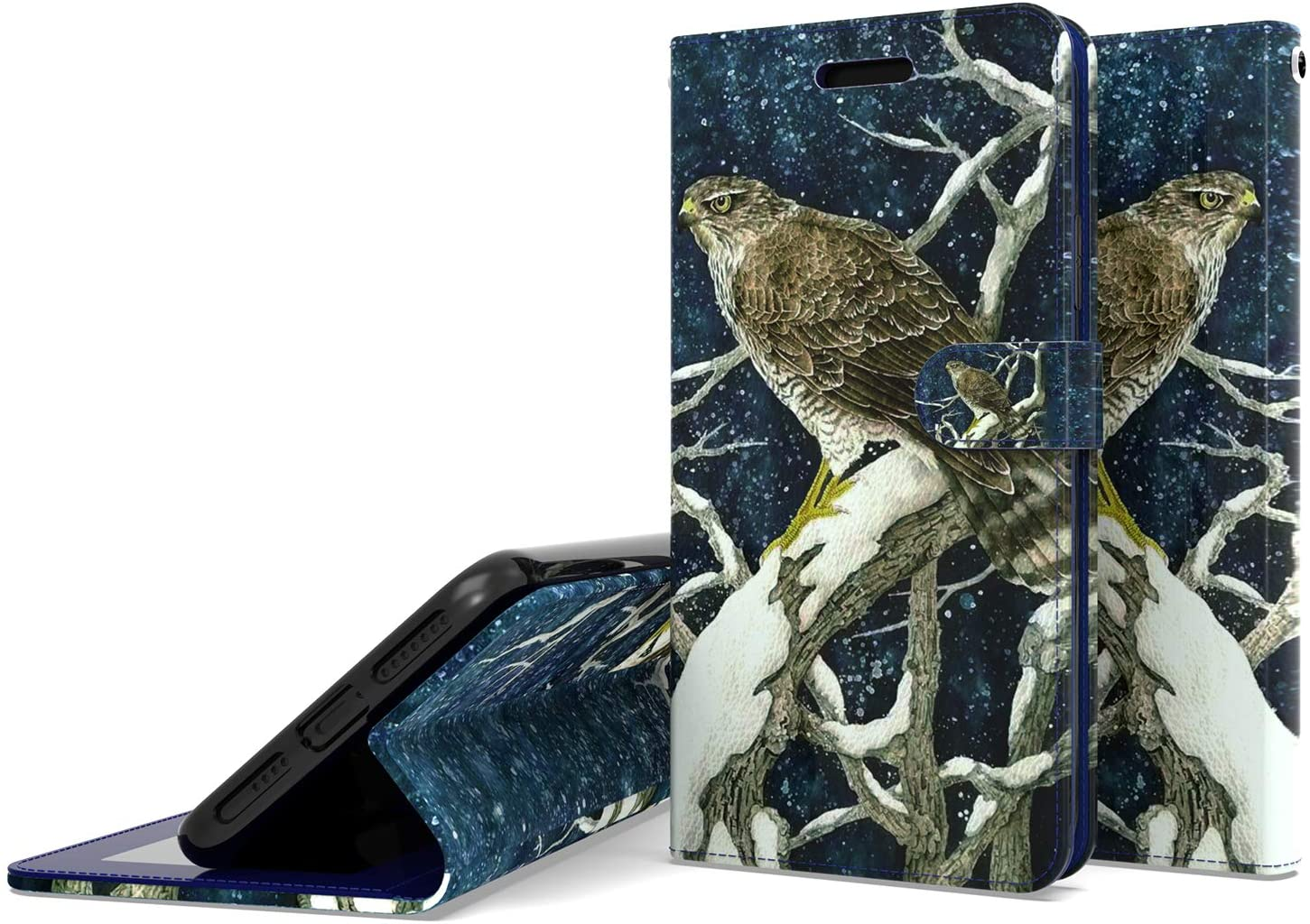 UNC Pro for Samsung Galaxy A11 Wallet Pouch Case, Luxury PU Leather Case Credit Card Slots Holder with Folio Flip, Stand Feature with Wrist Strap, Eagle Hunting Style