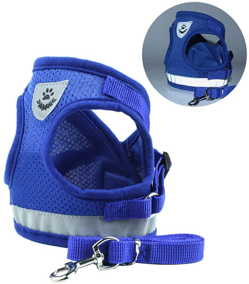 Decdeal Dog Harness No-Pull Pet Harness Adjustable Outdoor Pet Vest Soft Mesh Cat Harness, Step-in Air Vest Harness Reflective Harness for Pet Kitten Puppy Rabbit