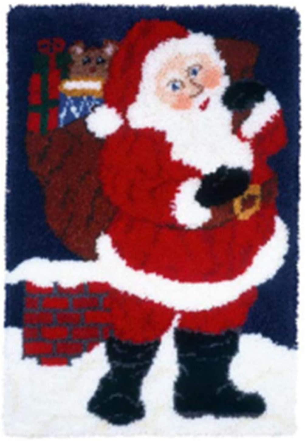 QJBMEI Latch Hook Kits Crochet Yarn Kits, DIY Crocheting Santa Pattern Rug Cushion Embroidery Carpet Set 33.8 × 23.2 Inch,Santa,8659CM
