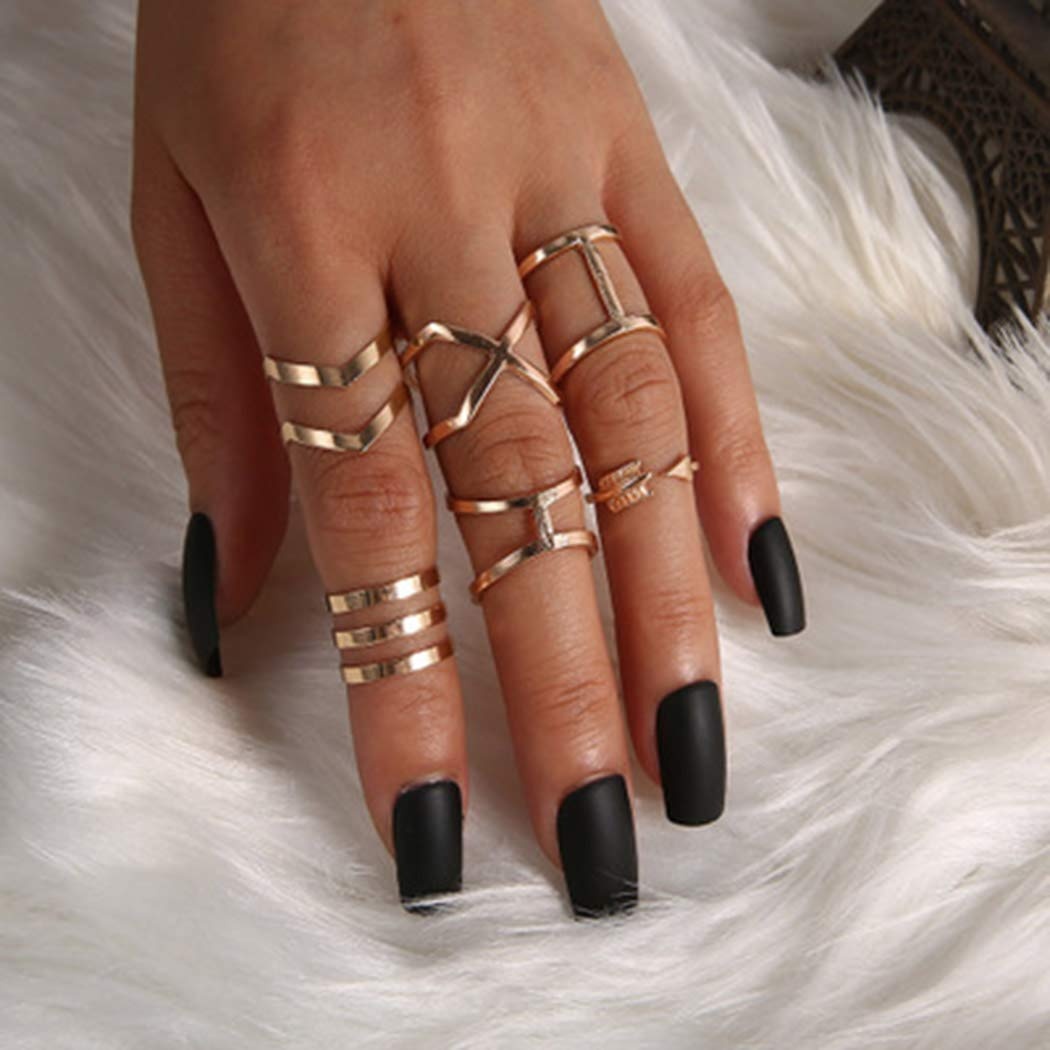Fdesigner Minimalist Knuckle Joint Rings Set Vintage Gold Stackable Rings Set Mid Finger Rings for Women and Girls (6PCS)