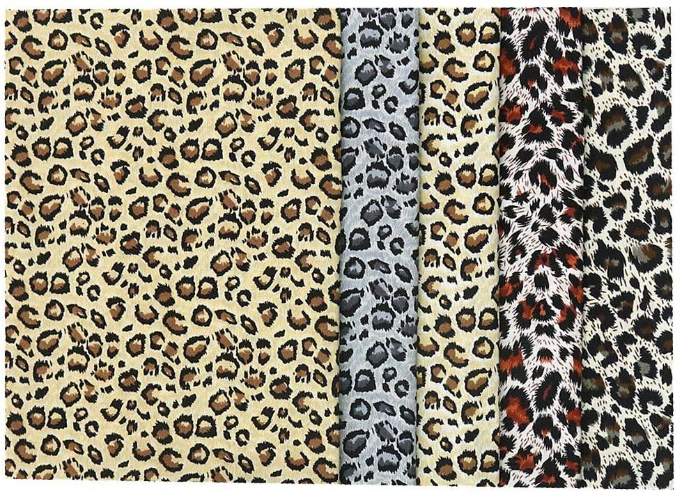 Yuanchuan 5pcs 18x22 Fat Quarters Fabric Bundles Leopard Print 100% Cotton Camo Poplin Fabric Cotton Fabric Quilting Fabric Dressmaking Shirts Clothes Sewing Patchwork DIY Craft (Leopard Print)