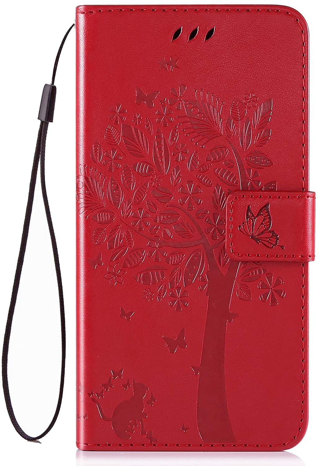 IKASEFU Compatible With LG K51 Case Emboss Pu Leather Wallet Strap Case Card Slots Shockproof Magnetic Kickstand Feature Slim Fit Folio Flip Book Cover Protective Bumper Case Red