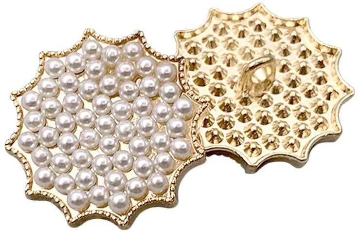Riverbyland 25 PCS Artificial Pearl Gold Metal Shank Buttons for Sewing 1