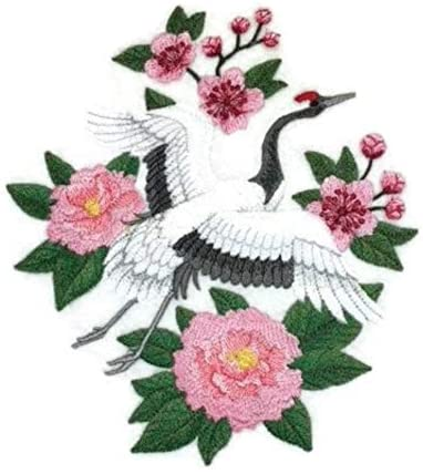 Nature Weaved in Threads, Amazing Birds Kingdom[Red Crowned Crane in Bloom] [Custom and Unique] Embroidered Iron on/Sew Patch [6.7x7.7] [Made in USA] …