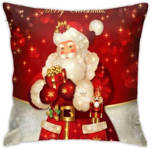 Antvinoler Soft Decorative Square Throw Pillow Covers, Red Santa Claus, Cushion Cases Pillowcases for Sofa Bedroom Car 18 X 18 Inch No Pillow Insert