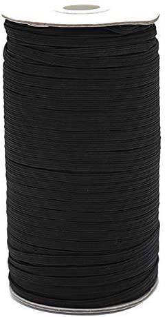200 Yards Length 1/8 Inch Width Braided Elastic Band for Sewing Braided Elastic Cord Elastic String Elastic Rope Elastic Band for Sewing Crafts DIY Elastic Bands (Black)