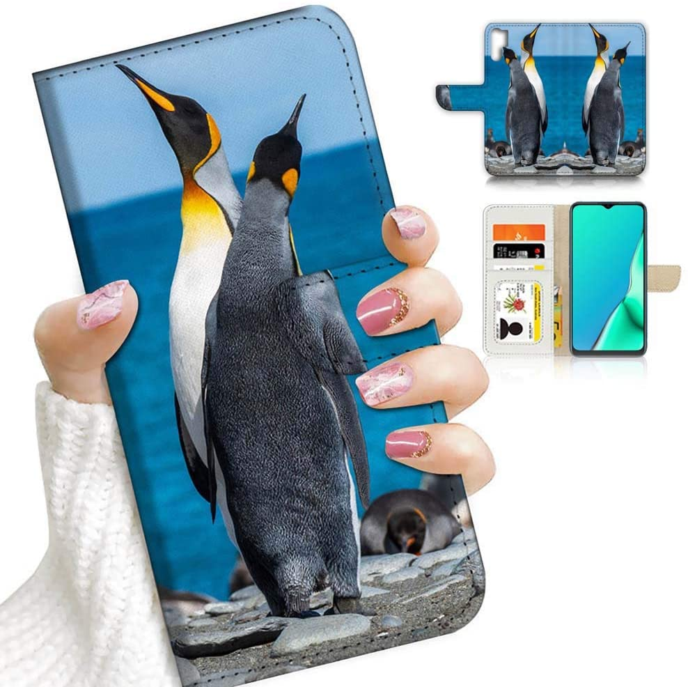 for Samsung Note 10+, Galaxy Note 10 Plus, Designed Flip Wallet Phone Case Cover, A23148 Penguin Lover 23148