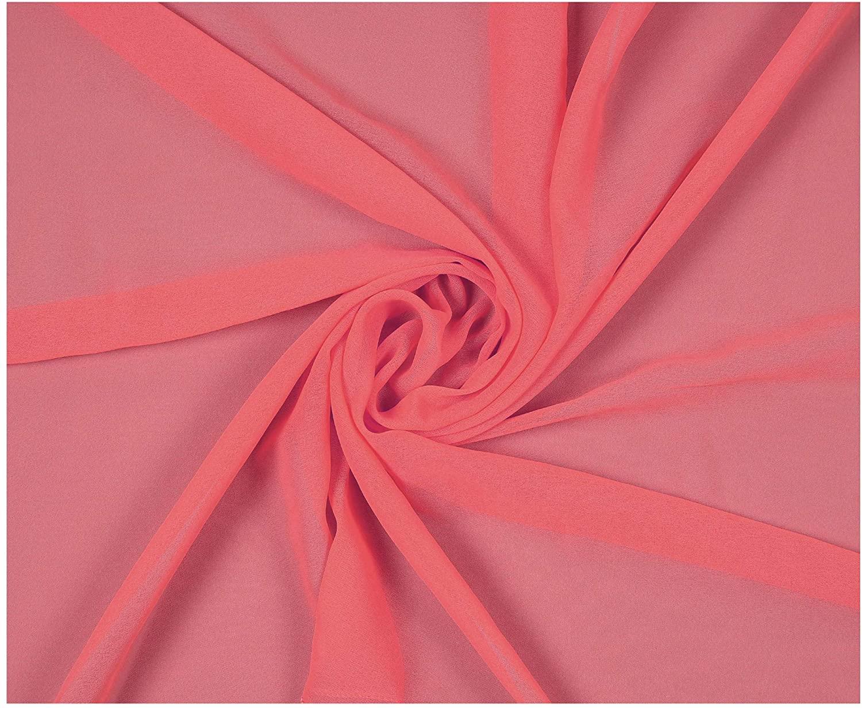"mds Pack of 25 Yard Bridal Solid Chiffon Fabric, Vintage Sheer Fabric Bolt for Wedding Dress, DIY Decoration, Sheer, Crafts, Silky Chiffon Fabrics 44"" - Coral"