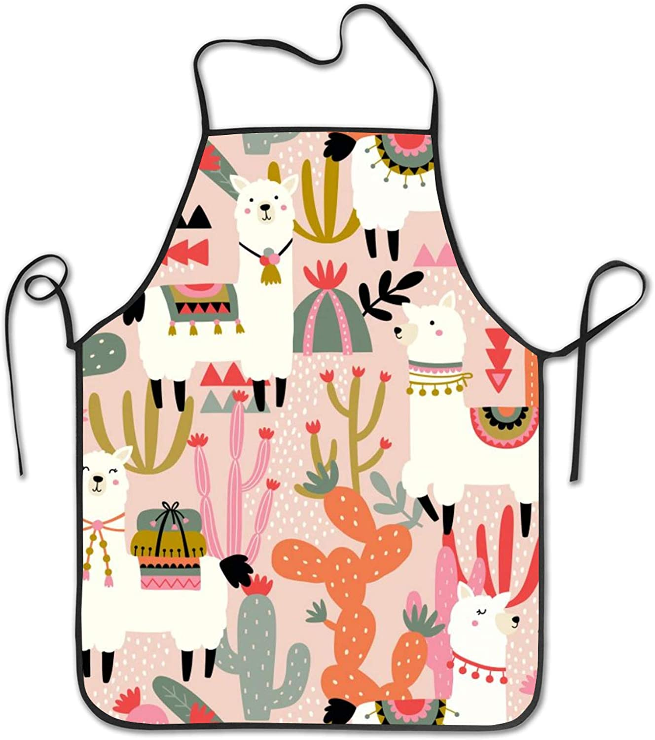 JANBOR Cute Llama & Cactus Funny Aprons, Washable Cooking Kitchen Chef Apron for Women Men, 28 x 21 Inch