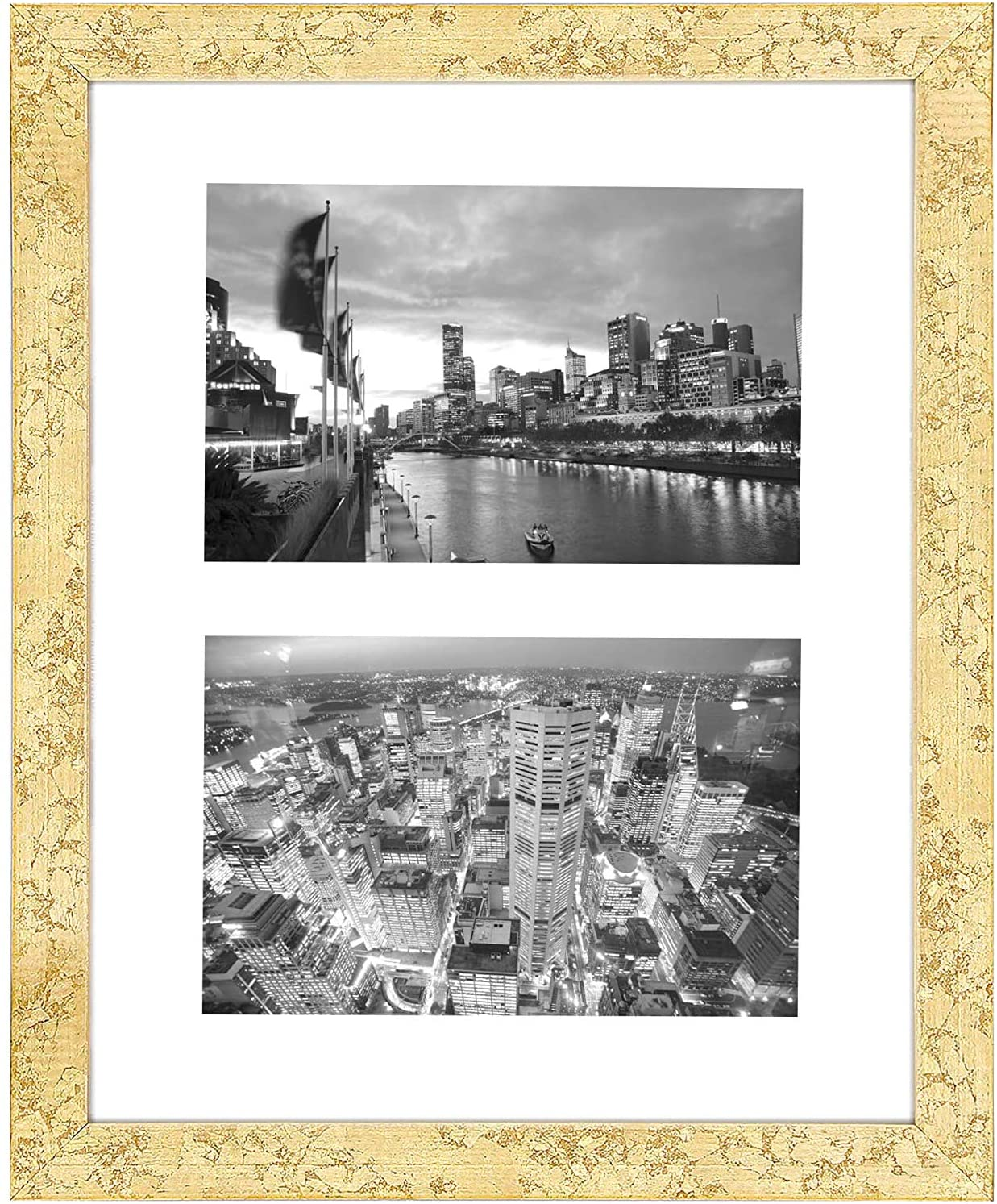 Golden State Art, 8x10 Gold Collage Picture Frame - White Mat for (2) 4x6 Pictures - Wood Molding - Easel Stand for Tabletop - D-Rings for Wall Display - Great for Homes, Offices, Events