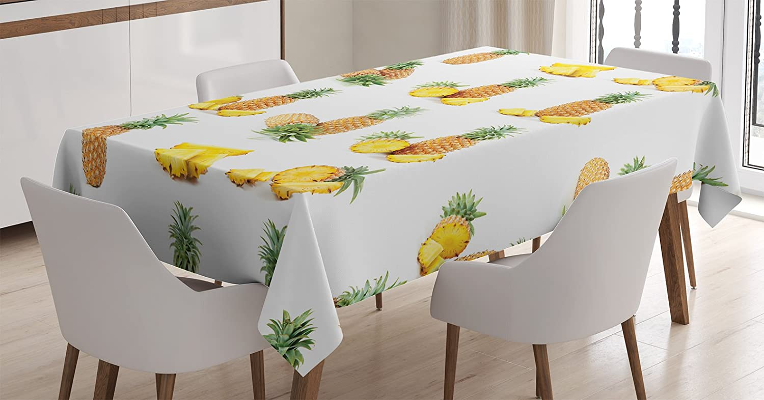 Ambesonne Pineapple Tablecloth, Whole Half and Pieces of Pineapple Picture Against Clean Background, Rectangular Table Cover for Dining Room Kitchen Decor, 60