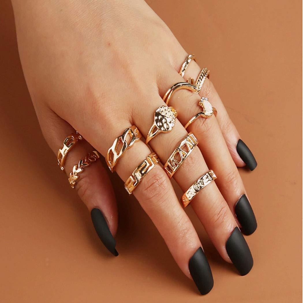Woeoe Gold Stackable Finger Rings Carved Vintage Knuckle Ring Sets Retro Joint Nail Rings Set for Women and Girls