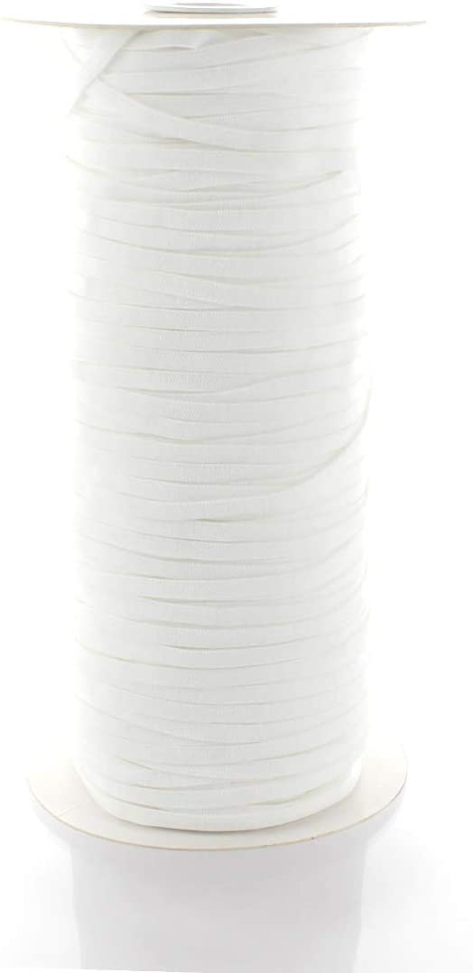 4mm (1/8) Width Skinny Elastic Band - Braided Flat Spandex Cord - Soft Elastic Bands For Sewing, Mask Ear Loops,Headbands, Crafts -White 200 Yards - 2 Day Shipping From USA (Kansas) Warehouse