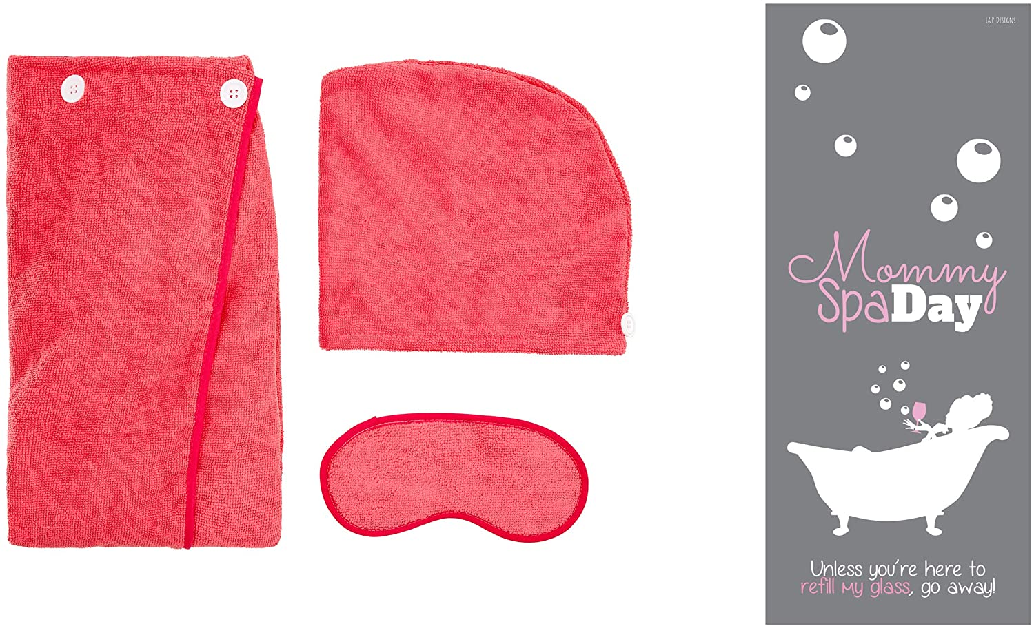 Luxury Spa Soft Terry Towel Wrap and Eye Mask Gift Set Bundled with Mommy Spa Day Door Hanger (Pink)