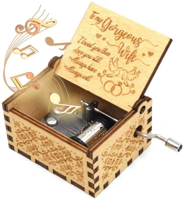 BOSQUEEN Music Box, You are My Sunshine Music Boxes, Classical Hand Crank Mechanism Engraved Musical Box, A Meaningful Gift for Wife from Husband