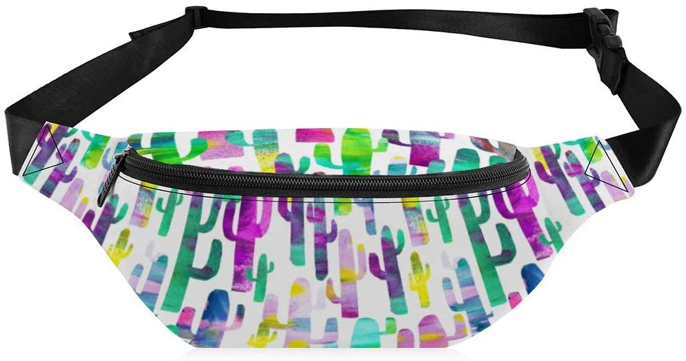Fanny Pack Women's Colorful Cactus Pattern Flexible Zipper Sling Backpack with Adjustable Strap for Walking