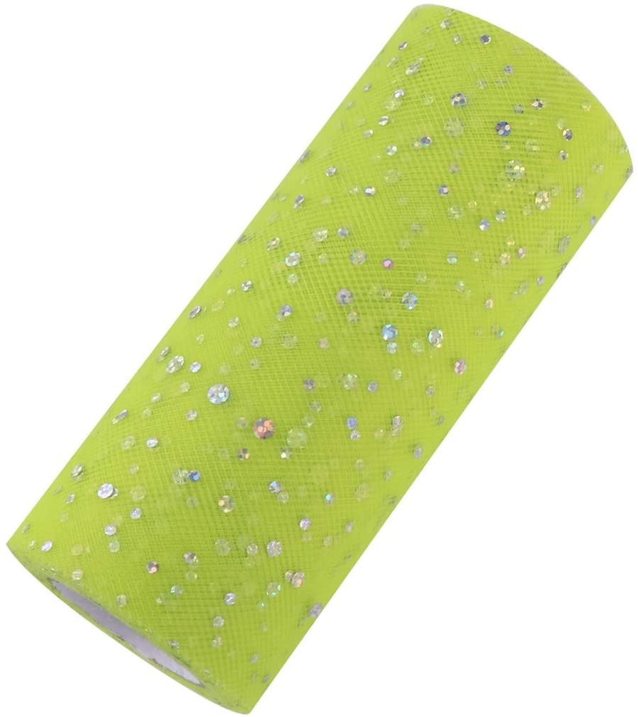 Artibetter Glitter Sequin Tulle Roll Tutu Roll Tulle Fabric for DIY Craft Wedding Birthday Party Decoration Fruit Green