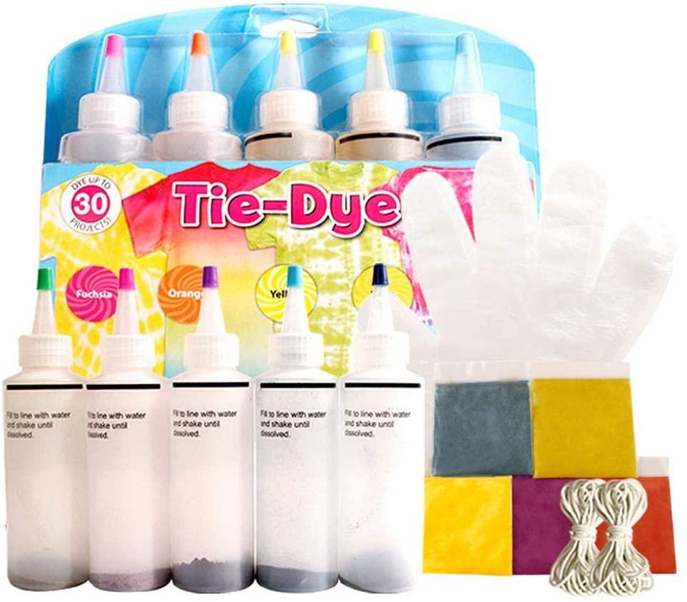 kioski Tie-Dye Kit, One-Step Tie-Dye Kit, 5 Colors DIY Fashion Dye Kit, Safe Fabric Textile Paints Vibrant Fabric Textile Permanent Esay Use Tie Dye Art Set DIY