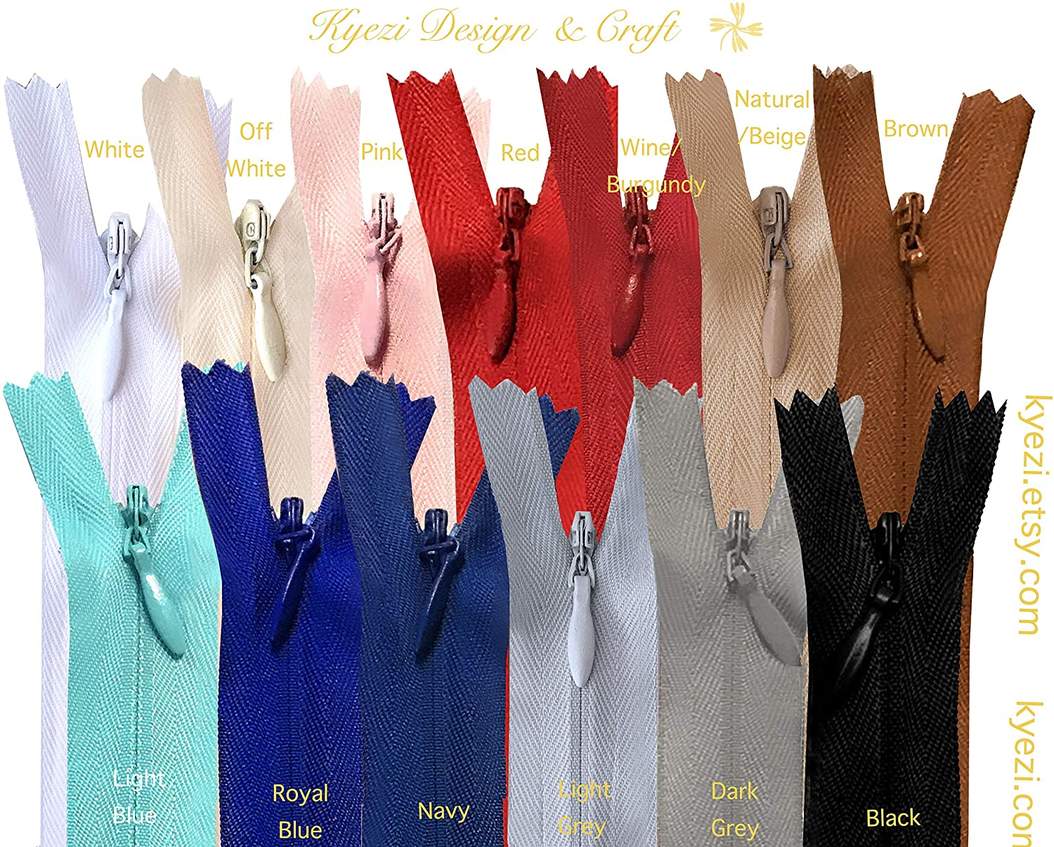 9-22 Inch Nylon Invisible Zippers for Pillow, Dresses, Skirts, Pants, Tailor, Sewer, Sewing Craft (Mixed Colors, 22 inch - 5pcs)