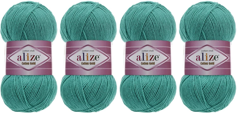 55% Cotton 45% Acrylic Yarn Alize Cotton Gold Thread Crochet Hand Knitting Art Lot of 4skn 400 gr 1444 yds (610-Jade)