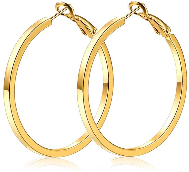 High Polishing Gold Plated Fashion Hoop Earrings For Women Girls Jewerly