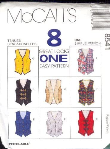 McCall's Sewing Pattern 8541 Misses' Vests - 8 Styles, Size D (12 14 16)