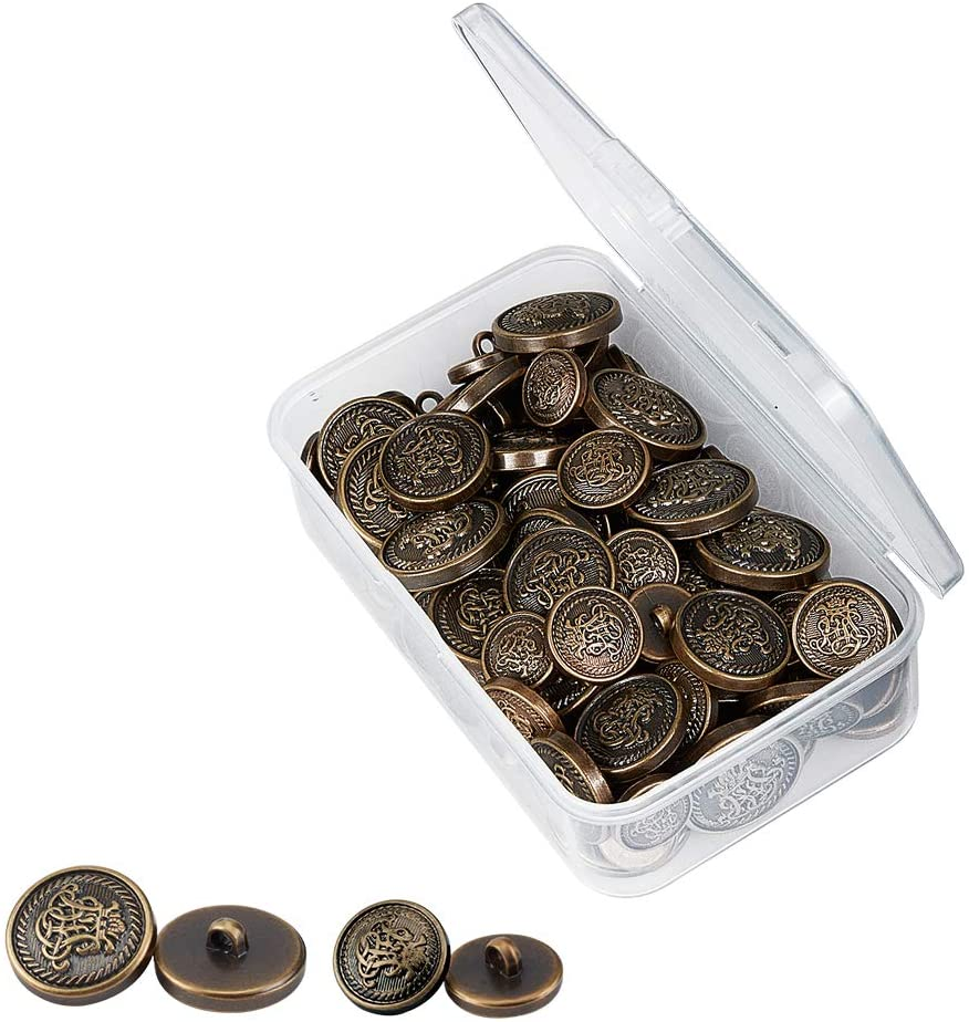 OLYCRAFT 80pcs Metal Blazer Buttons Crown Crest Alloy Flat Shank Buttons 15mm 18mm 21mm 25mm Vintage Antique Suits Button Set for Blazer, Suits, Coats, Uniform and Jacket - Antique Bronze
