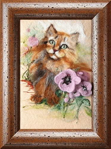 Felting kit Charivna mit #В-39 Flowers Cat Pretty 17x26 cm / 6.69x10.24 in