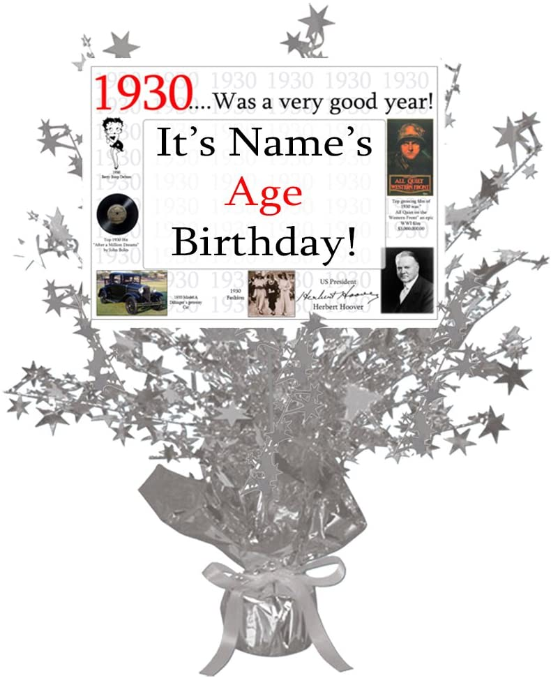 1930-90th Birthday Customized Silver Star Centerpiece (Each) by Partypro
