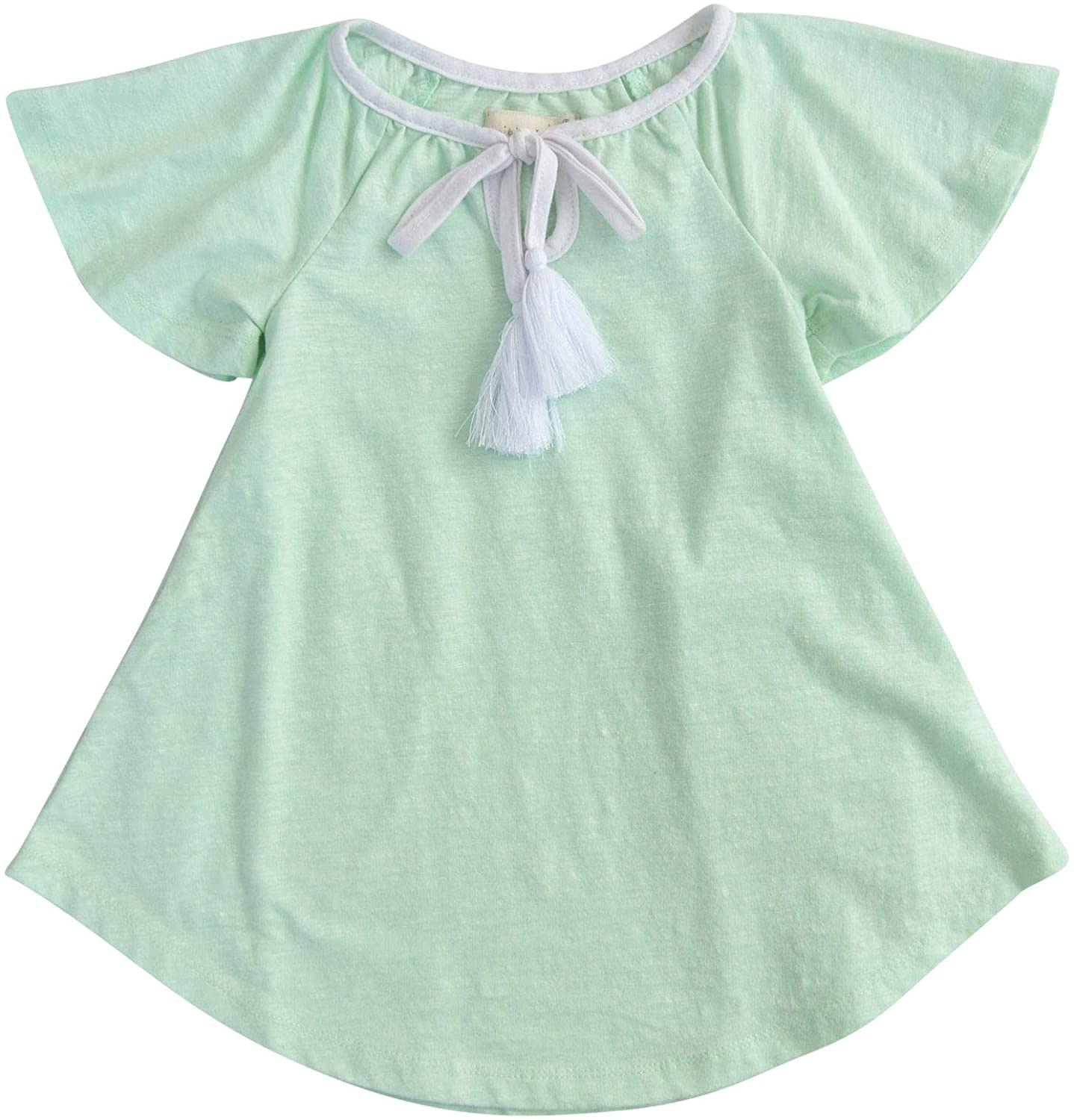 MikiMiette Little Girls Dress with Tassle Detail and Flutter Sleeves 65% Cotton 35% Polyester