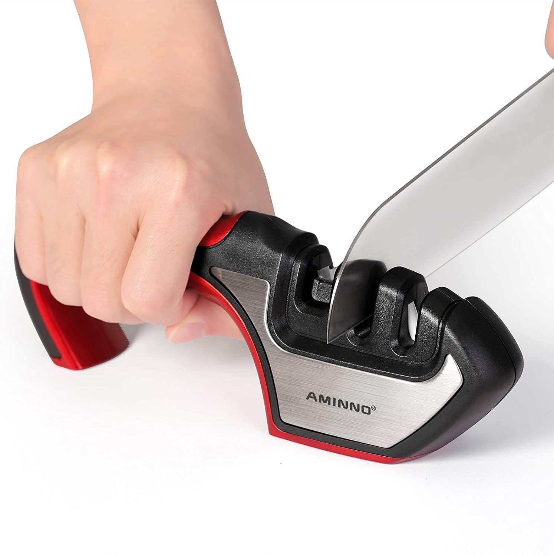 AMINNO Knife Sharpener - Tungsten Carbide and Ceramic Knife Sharpener, Repair Restore and Polish Blades, Kitchen Accessories Tools