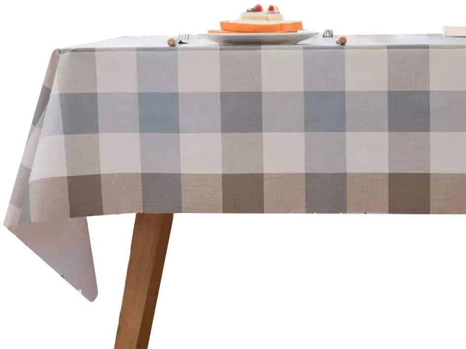 Antuen Rectangle Oblong Blue and Coffee Plaid PVC Tablecloth Oil-Proof Waterproof Wrinkle Free Durable Table Cover for Dinner Kitchen Picnic, 52x120 Inch