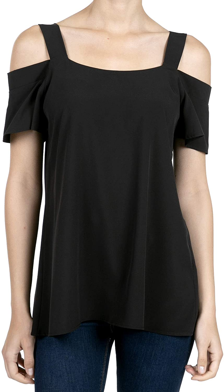 SHOP DORDOR Women's Short Sleeve Cold Shoulder Loose Blouse Tunic Tops