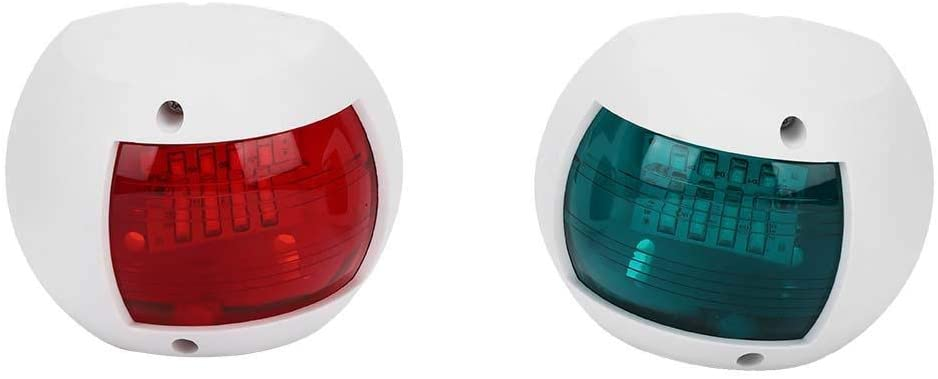 Hlyjoon Boat Navigation Light 2Pcs Signal Lamp Spherical Red Green LED Waterproof Boat Navigation Light DC12V-24V 3W for Night Fishing Ideal for Pontoon, Skiff, and Small Boat (White)