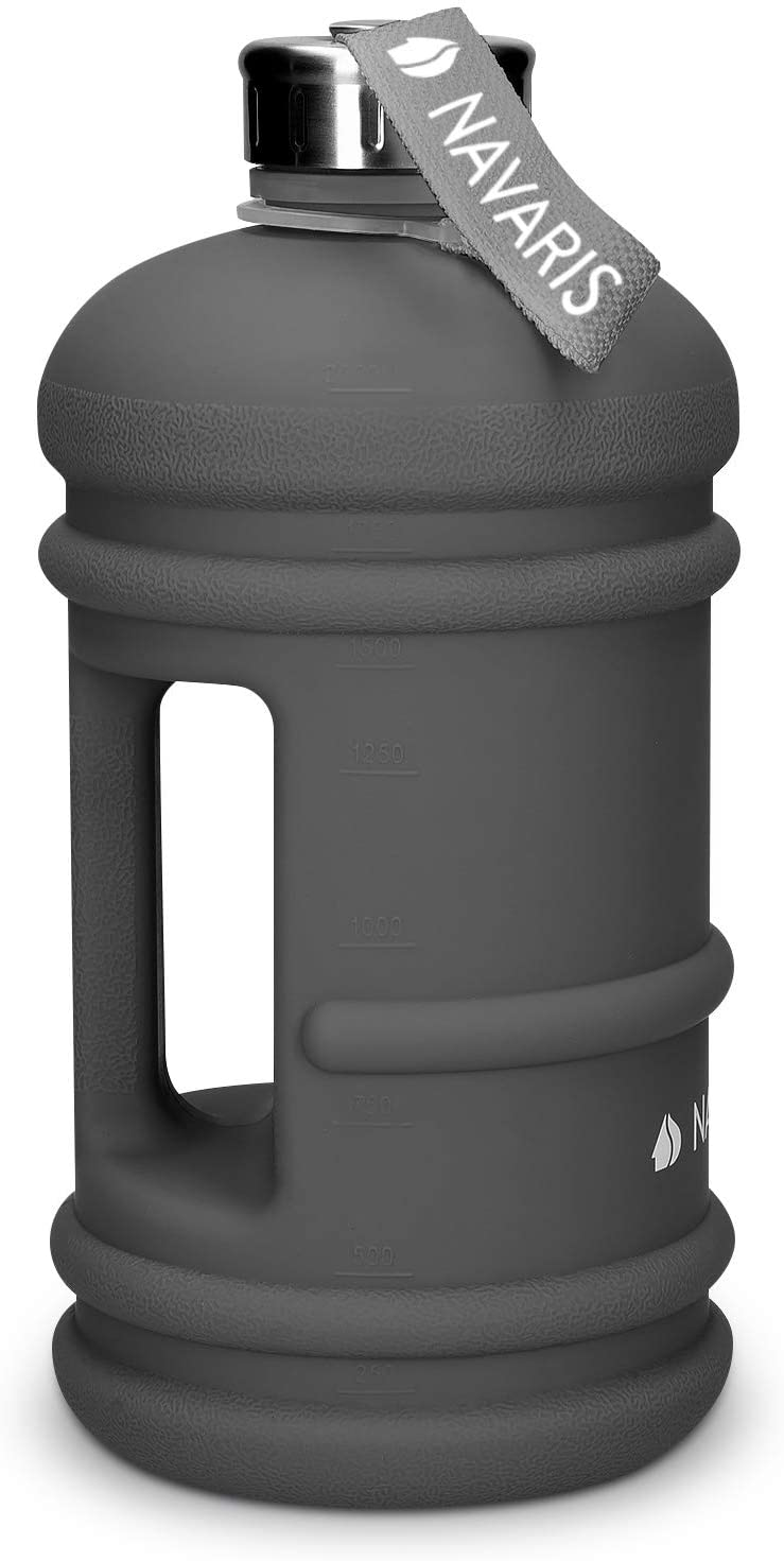 Navaris XXL Water Jug - Half Gallon Gym Water Bottle with Carrying Loop - Ideal for Gym, Outdoor Sports, Fitness, Hiking, Camping, Home - BPA Free