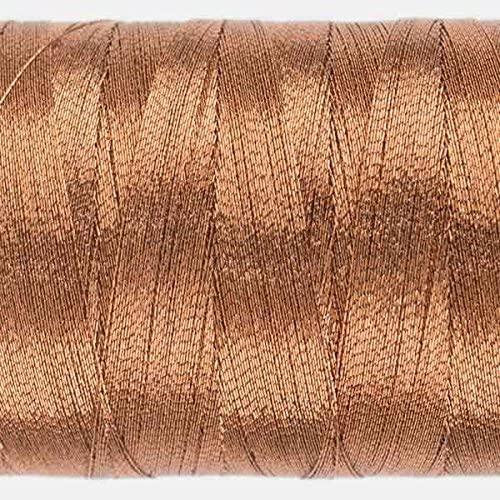 WonderFil Specialty Threads Spotlite, 1000m, Light Copper. 40wt rayon core metallic thread