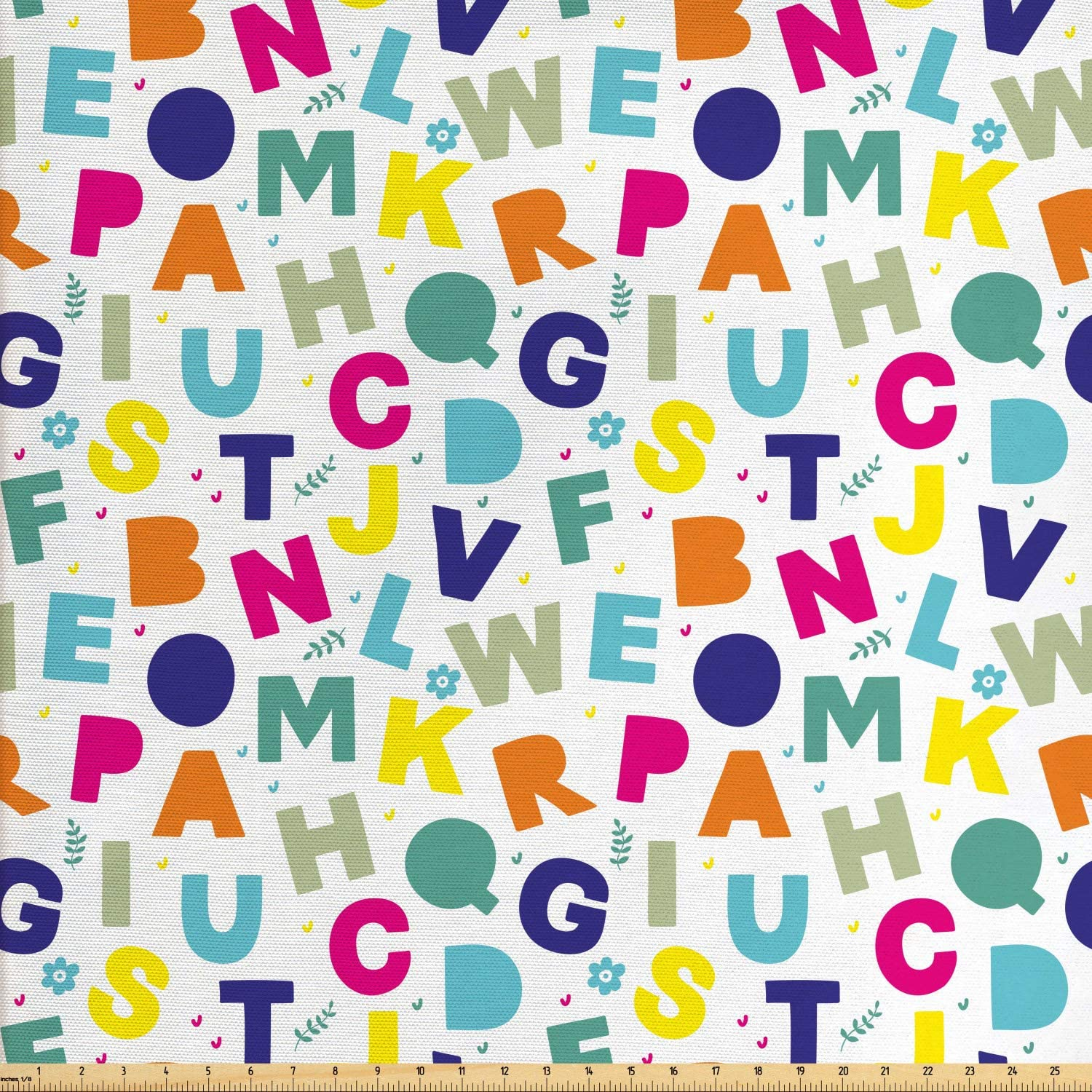 Ambesonne Alphabet Fabric by The Yard, Asymmetric Repetition of Simple Colorful Letters with Flowers and Leafy Branches, Decorative Fabric for Upholstery and Home Accents, 1 Yard, Multicolor