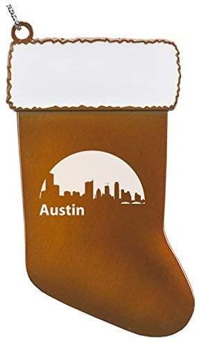 Austin, Texas-Christmas Holiday Stocking Ornament-Orange
