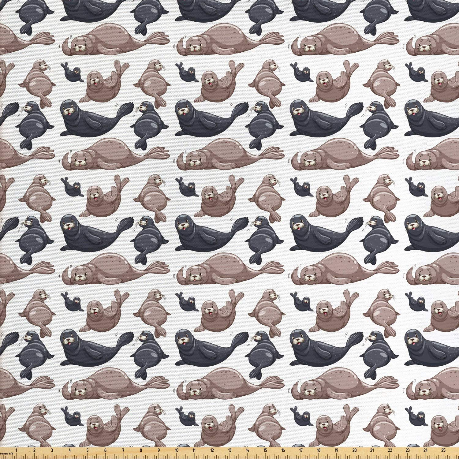 Ambesonne Sea Animals Fabric by The Yard, Seals Illustration Sea Lion Exotic Tropical Comic Graphic Wild Ocean, Decorative Fabric for Upholstery and Home Accents, 1 Yard, Blue Taupe
