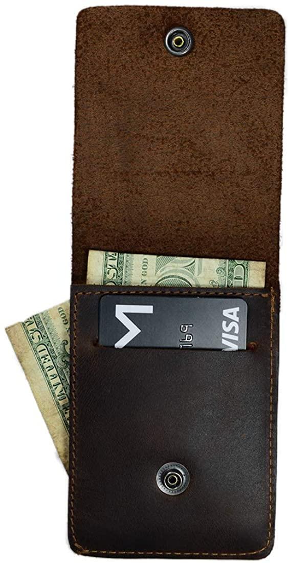 Hide & Drink, Leather Vertical Wallet, Holds Up to 4 Cards/Minimalist/Bifold/Money Clip/Travel/Front Pocket Wallet, Handmade :: Bourbon Brown