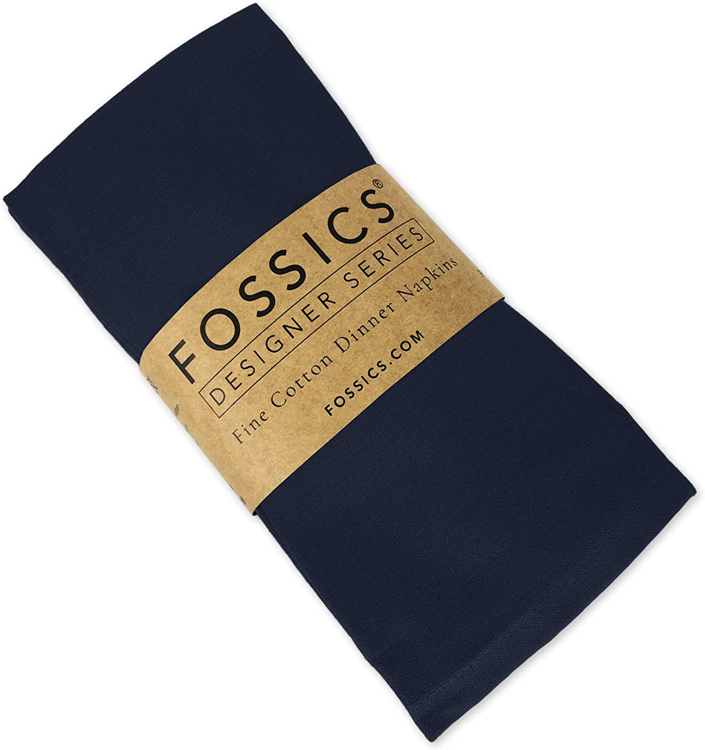 FOSSICS Designer Cotton Napkins from 100% Responsibly-Farmed Natural Cotton Cloth | Oversized 20 x 20 inches for Dinner, Events, Weddings | One Dozen, Black