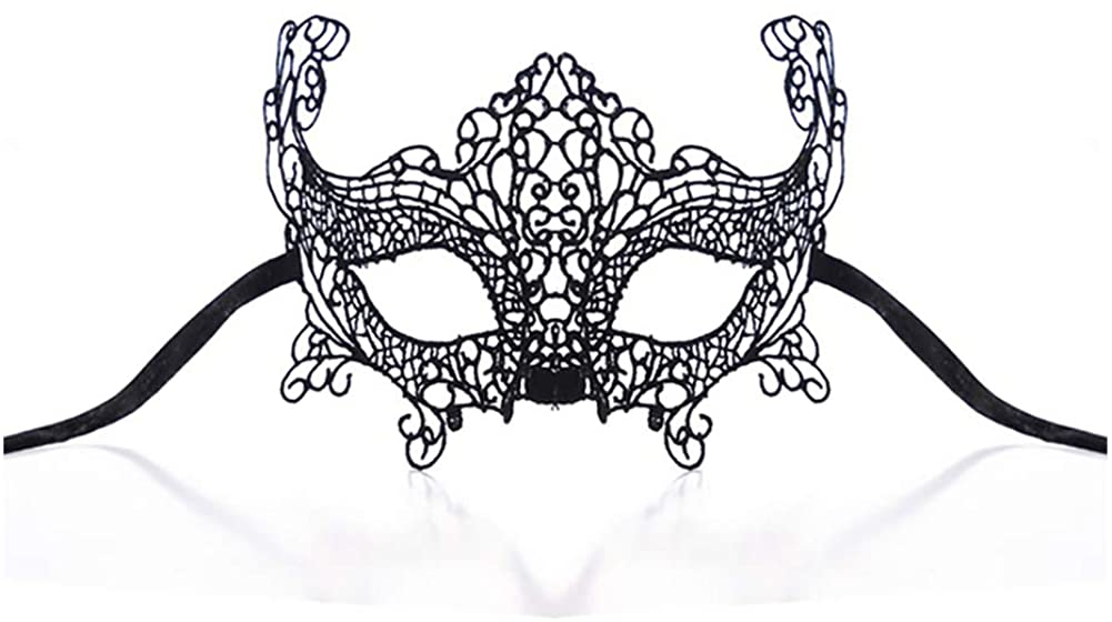 Women's Sexy Mysterious Mask Black Gothic Lace Masquerade Eyemask Halloween Cosplay Girls Fancy Dress Accessories Outfit