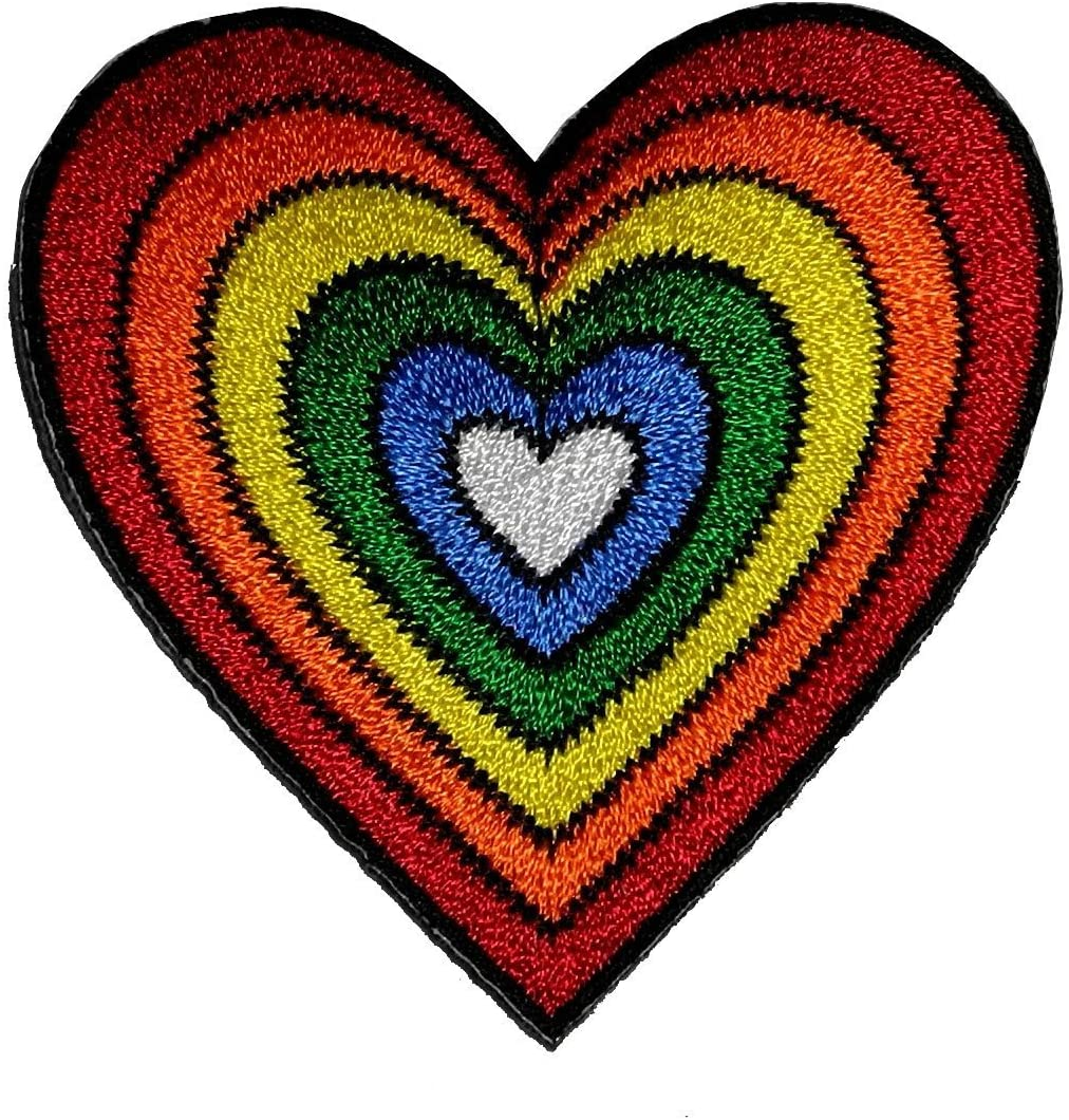 HHO Heart Rainbow patch Embroidered DIY Patches, Cute Applique Sew Iron on Kids Craft Patch for Bags Jackets Jeans Clothes