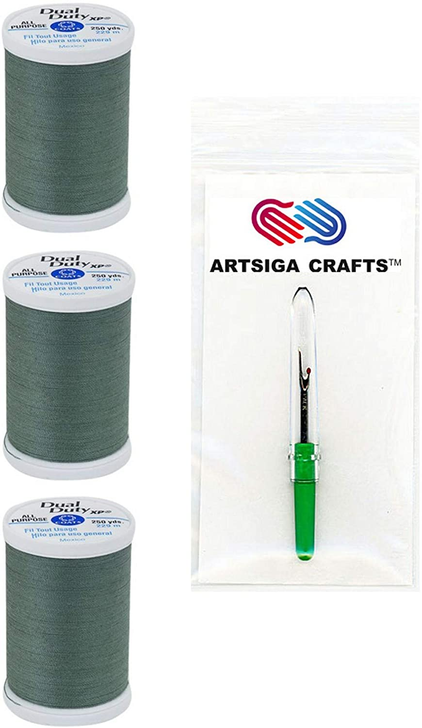 Coats & Clark Sewing Thread Dual Duty XP General Purpose Poly Thread 250 Yards (3-Pack) Sage Bundle with 1 Artsiga Crafts Seam Ripper S910-6070-3P