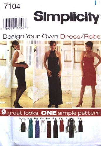Simplicity Sewing Pattern 7104 Misses' Sleeveless Evening Dress - 9 Looks, N Size 10 12 14