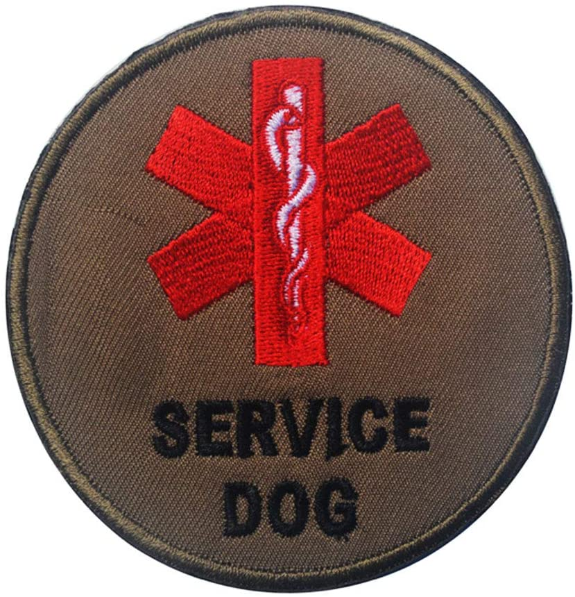 Service Dog in Training Colour Round Vests/Harnesses Emblem Embroidered Fastener Hook & Loop Patch (Patch-5)