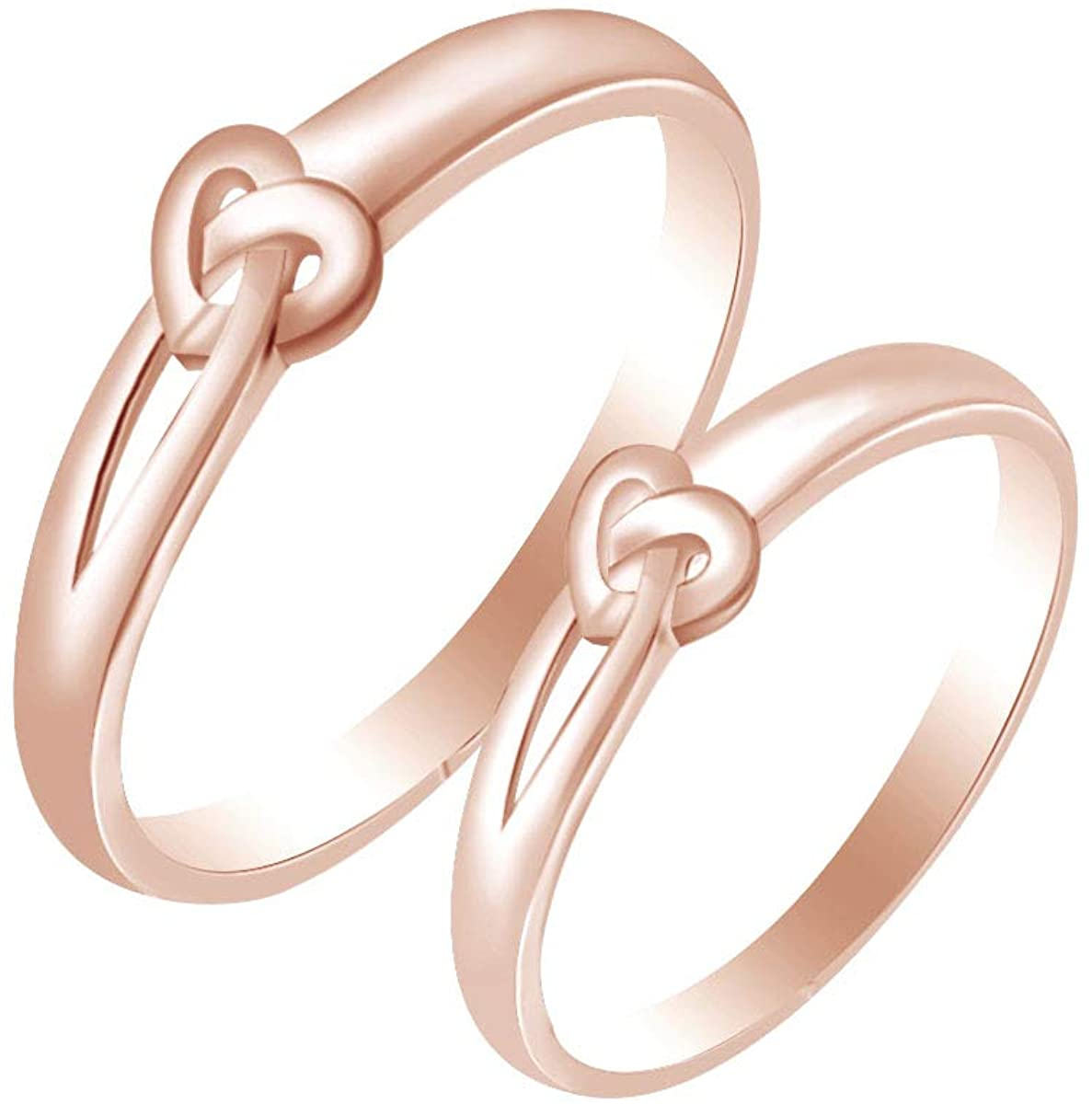 AFFY Love Heart Promise Couple Band Ring 14k Rose Gold Over Sterling Silver