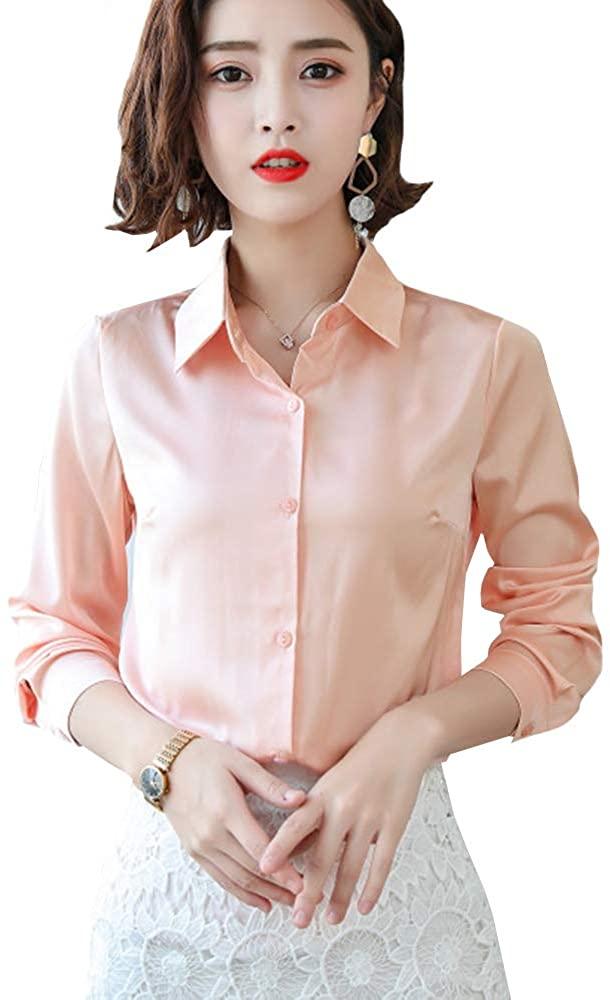 Women Satin Silk Blouse Long Sleeve Office Lady Shirt Casual Button Down Blouse Tops
