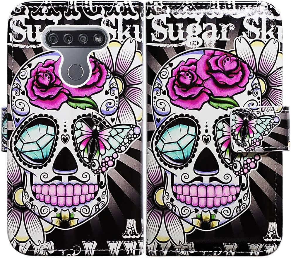 LG K51 Case,LG Reflect (LM-K500) Case,Bcov Purple Flower Sugar Skull Leather Flip Case Wallet Cover with Card Slot Holder Kickstand for LG K51/LG Q51